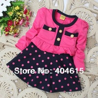 Top quality baby girls' spring fashion new dot long sleeve princess dresses