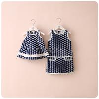 2836 l female dresses girl large polka dot tank dress navy blue
