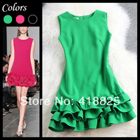 2014 early spring summer designer women's dresses cascading ruffle bottom pink green black fashion cute brand event mini dress