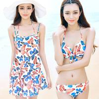2014 New Hot spring swimwear female small push up steel one-piece dress piece set swimwear  Free Shipping