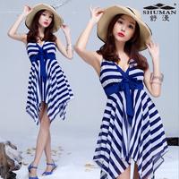 2014 New Swimwear stripe type one piece skirt plus size plus size female hot spring swimwear  Free Shipping