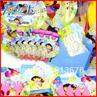 Happy birthday Free shipping 167 pcs birthday party decotations for 12 people dora birthday party decoration