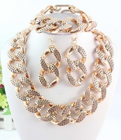 2014 Free Shipping Hot Fashion Shiny Rose Gold Color Spot Chunky Curb Chain Necklace Bracelet  Earring Set