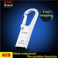 SSK K6  100% 8GB USB flash drive waterproof high speed metal usb flash drive usb flash drive 100% 8G Free shipping