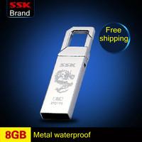 Ssk usb flash drive 100% 8GB mini metal usb flash drive sandofan lock key chain usb flash drive  Free shipping