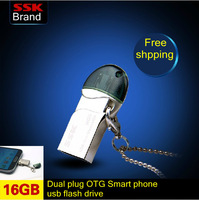 Ssk mobile phone usb flash drive 100% 16GB double plug metal usb flash drive mini 16GB smart phone usb flash drive Free shipping