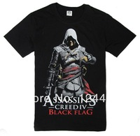 Free Shipping 2014 New Style ASSASSIN'S CREED BLACK FLAG  T-shirt The clown with short sleeves  The classic black
