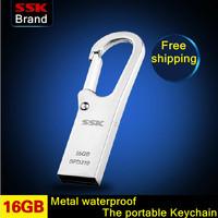 SSK K6  100% 16GB USB flash drive waterproof high speed metal usb flash drive usb flash drive 100% 16G Free shipping