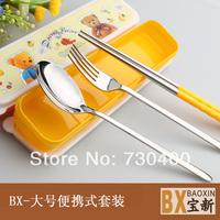 Fork spoon chopsticks portable set stainless steel three piece set tableware fork t. chopsticks knife and fork set
