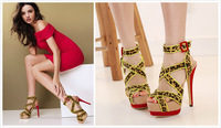 Pop fashion summer open toe platform high heel cutout cross straps female sandals