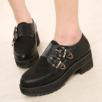 Fashion strap metal hasp HARAJUKU platform shoes elegant single shoes