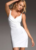 Drape front white cocktail dress sexy deep-v dress design
