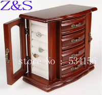 Free shipping Wedding gifts wood jewelry box jewelry display gift box packaging earrings case casket