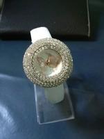 Ladies Women Geneva Billow Stripe Print Leather&Alloy Analog Quartz Wrist Watch
