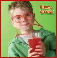 Children Child Cartoon diy straw interesting funny glasses Creative DIY fun crazy straw Korea Unisex Beverage tubing new