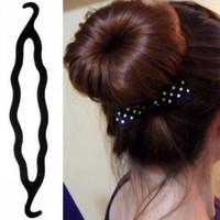 Perfect 24pcs/lot DIY Retail Plastic Black Twist Hair Bun Maker Donut Tool Styling Clips Hair Jewelry