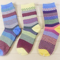 3 Pairs/lot Thick 100% Cotton Socks High Barreled National Wind Christmas Sock Stockings