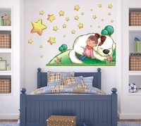 XY8118 Free shipping DIY Girl under the stars cartoon wall sticker 138*80cm kids rooms decor Sofa background pvc sticker