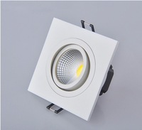 Free Shipping 3W 5W COB White Square LED Downlight downlight white, High Power LED 5W COB Square Downlight Ceiling Lamp