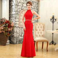 Evening Wedding    long design fish tail skirt lace red bride 2013 new arrival  Dress