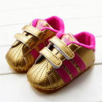 Free Shipping 2013 Attractive Gold Stripes Brand Baby Sneaker Shoes Boots Style Baby Shoes