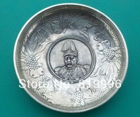 Exquisite Chinese 12 Zodiac And Dragon Coin Silver Bowls & Plate #001#