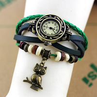 DHL FREE SHIPPING Fashion Strap Casual Vintage women's knitted leather owl pendant clothes women's Dress Watches