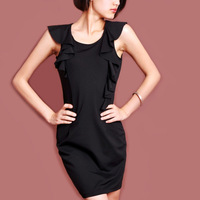 2014 spring OL outfit unique ruffle collar slim one-piece dress a73 gledes