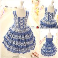 Free shipping  High quality 2014 summer girls clothing soft cotton princess dress lace layered dress girl dress cake dress