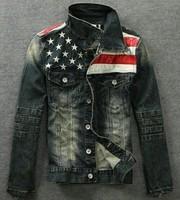mens Retro moto biker denim jeans jacket coat trench outwear