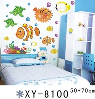 XY8100 Free shipping wall stickers, Waterproof PVC Wall Stickers Cartoon fish sticker for bathroom glass sticker