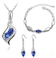 Hot Selling New Designer Jewelry 18K Rhinestone Pendant Necklace Earrings Bracelet Suit Austrian Crystal Jewelry Set For Women