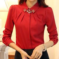 2014 Good Quality Women Fashion Elegant Pattern Solid Color Long Sleeve Slim Chiffon Blouse