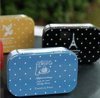 Colorful Travel In Paris Mini Storage Tin Cases, Girls Jewelry Iron Stroage Box, Children School Korea Stationery Wholesale