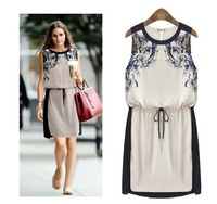 New spring Fashion 2014 Print Dresses  Summer Female Vestidos Chiffon Casual Dress Women Sleeveless Knee Length Vintage Girls