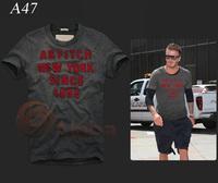 Free Shipping 2014 New Arrival Men Casual T Shirts Dark Gray Men Short Sleeve Jersey S--XL