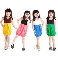 2014 summer new simple color stitching cotton vest dress original single children's clothing free shipping