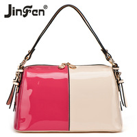 2014 women's spring handbag japanned leather fashion color block shoulder bag color block women's bag