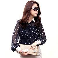 1338 XXXL Plus Size 2014 New in Spring Branding Chiffon Dot Lace Long Sleeve OL Lady Woman Shirts Blouse Blousa roupas femininas