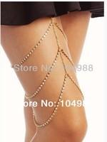 FREE SHIPPING 2014 Style BY-160 WOMEN FASHION GOLD RHINESTONE CHAIN THREE LAYERS LEG CHAIN BODY JEWELRY