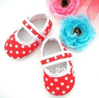 1pair 4 sizes Baby Toddler Shoes Baby Shoes Girls Dress Shoes Lace Soft bottom Non-Slip dot Shoes European and American style