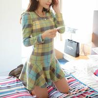 Fast/Free Shipping Spring 2014 Sweet Plaid Casual Dress Long-sleeve O-neck Basic Women Dresses Mini O-Neck