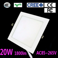 Hot! 2pcs/Lot 20W Led Panel Light Square 1800 lumen Ceiling Light Warm White /White Led Lamp AC85-265V, Free Shipping