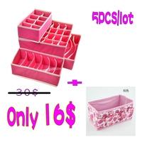 Home storage boxes 4 pcs Without cover bra, underwear, socks, storage boxes+1 pcs desktop cosmetics organizer