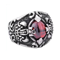 F0225 Retro vintage style Cross red gem New jewerly Titanium Stainless steel men's finger ring