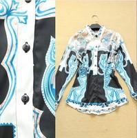 Free Shipping 2014 Women's Europe America Brand High-End Print Slim Waist Thin Turn-Down Collar Vintage Tops