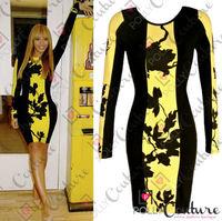 Fashion yellow print brief elegant slim hip slim pencil dresses long sleeve knee-length evening party one-piece dress 2014 new