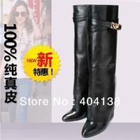 50% OFF A signature metal shark tooth-lock celebrity design in luxurious calfskin Hidden wedges women fold-over pant leg Boots
