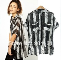 Plus size women big double pocket striped loose short-sleeve chiffon shirt female blouse free shipping new 2014 new spring