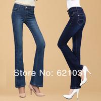 Spring New Fashion Free Shipping Bell-Bottom Women's Jeans 2 Colors Womens Denim Pants Slim Fit Denim Bodysuit Size 26-34
